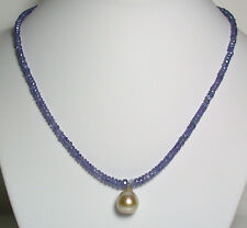 13x14mm AA++ golden South Sea pearl, 50 carat tanzanite & 9 carat gold necklace