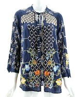 NWT $260 Johnny Was Blue Floral Wildflowers Embroidered Luca Blouse XS
