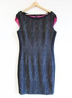 Elie Tahari Size 14-16 Black Beige Tweed Illusion Sheath Career Pink Lined Dress