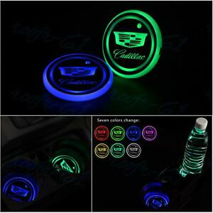 2pcs Fit Cadillac Car LED Light Cup Bottle Holder Pad Mat Coaster 7 Color Change