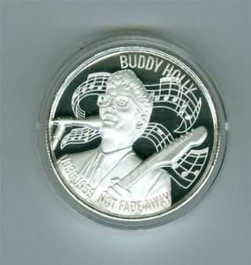 AMERICAN MUSIC ICONS BUDDY HOLLY ULTRA HIGH RELIEF 2 OZ .999 SILVER ROUND BU