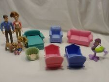 MATTEL DOLLHOUSE LOT Furniture Doll People Family Dog DAD MOM DAUGHTER CRIBS