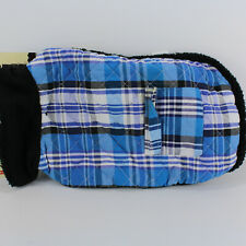"Dog Coat Plaid Blue White Sherpa lined Diamond Quilted insulated  14""-15"" long"