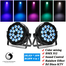 2pcs RGBW 18 LED DMX Par Light Rainbow Beam Effect Stage Lighting 6/7CH Sound DJ