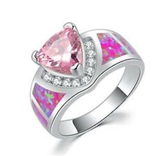 """GORGEOUS PINK FIRE OPAL/PINK TOPAZ RING UK Size """"N"""" US 7"""