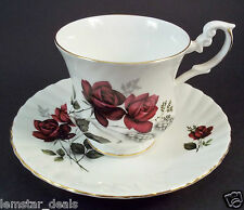 Royal Dover Bone China Tea Cup & Saucer Set Dark Red Roses & Wheat England Made