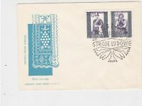 Poland 1960 Polish Folk Costumes +  Slogan Cancel FDC Stamps Cover ref 22975