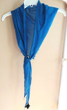 EILEEN FISHER Scarf Whisper Silk Triangle Wrap Beaded Edge Marine Blue  $138 NWT