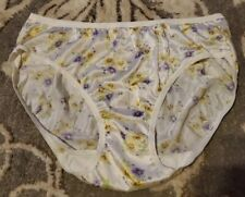 Vintage Adonna Sz 8/Xl White Floral Nylon Panties High Cut Sissy Ft2