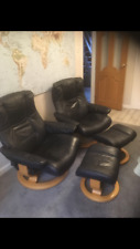 2 EKORNES STRESSLESS CHAIRS WITH STOOLS
