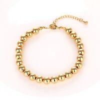 "18K Yellow Gold Filled Women Beads Bracelet 7.7"" + 2"" Chain Charm Link"
