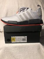 adidas nmd r1 - grey/gray & solar red - men's size 12 - rare - new with tags