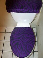 PURPLE AND BLACK ZEBRA PRINT FLEECE TOILET SEAT COVER SET