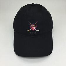 POLO Baseball Cap Golf Brassie & Shield Sport Hat Fine Embroidered Vintage Black