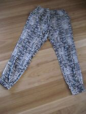 LADIES CUTE BROWN PATTERNED VISCOSE CASUAL HAREM PANTS BY MILLERS - SIZE 10