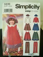Simplicity 5936 Easy Sew Wrights Jumper Pants Hat & Top Toddlers 1/2 - 4 FF UC