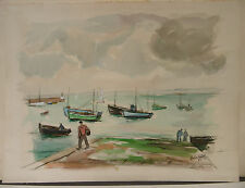 """Tableau Peinture Aquarelle PIERRE ABADIE LANDEL """"Douarnenez 1963 """"  PAL45"""