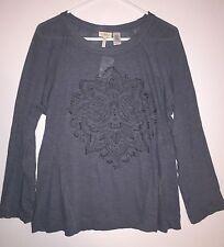Logo by Lori Goldstein Blue Slub Knit Top With Front Embellishment Sz M