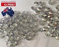 20x Rhinestone Buttons Round Flat Back Crystal Diamanté DIY Decor Sew Craft