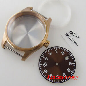 Real Bronze 39mm Watch Case fit NH35A NH36A Sapphire Crystal Luminous Dial Hand