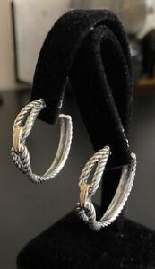 David Yurman Silver/18k Hoops