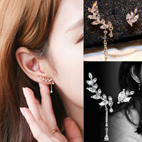 126751687f Charm Fashion Asymmetric Silver   Gold Leaf Crystal Ear Cuff Stud Clip  Earrings