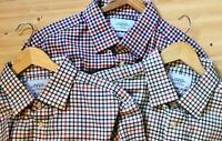 Lot of 3 Charles Tyrwhitt Checked Slim Fit Brushed Cotton LS Shirts 18/35