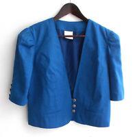 Damen Trachten Janker/Jacke Leinen blau Gr. 38 v. Meico Landhaus Look
