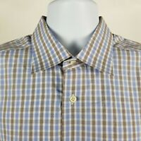 David Donahue Mens Blue Brown Check Plaid Dress Button Shirt Sz 17.5 36/37