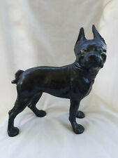 Old Vtg Cast Iron Boston Terrier French Bulldog Door Stop Dog Figure Black