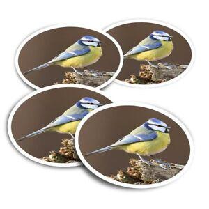 4x Round Stickers 10 cm - Small Blue Tit Bird Garden England  #15773