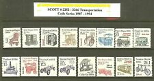 US Scott # 2252 -2266 1987-94 Transportation Coils 16 MNH Stamps