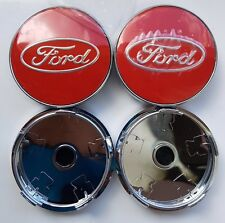 4x RED FORD FITS MOST NEW MODELS 60MM ALLOY WHEEL CENTRE CAPS