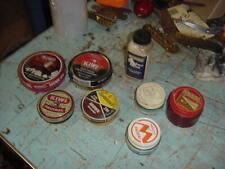 VINTAGE SHOE SHINE TINS & JARS LOT OF 8 CABIN COTTAGE PROP DECOR