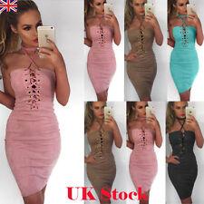 Summer UK Womens Off Shoulder Halter Neck Bodycon Party Ladies Short Mini Dress