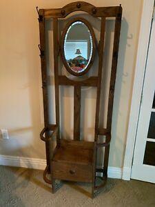 Antique Oak Hall Tree Seat Stand Mirror