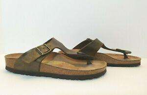 Birko-Flor Gizeh Thong Sandals Women's Size US 4-4.5/ EU 35 Metallic Bronze