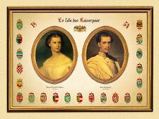 Emperador Franz Joseph I Sisi novia par Austria K & K 111 facsímil en el marco de oro