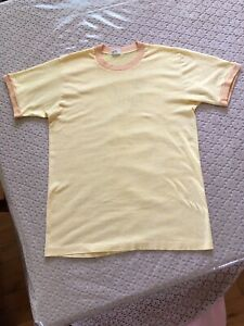 Vintage 1970's JC Penney Towncraft Ringer Shirt Rare Color Heather Yellow L