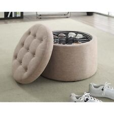 Convenience Concepts Designs4Comfort Round Shoe Ottoman, Tan Fabric