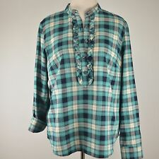 TALBOTS 12 Plaid Light Flannel Pullover NEW Blouse Ruffle Roll Sleeve Shirt Top