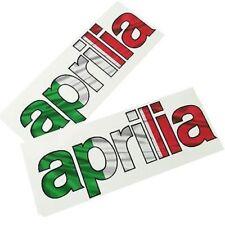 APRILIA BANDERA ITALIANA texto MOTO PEGATINA dibujo ADHESIVOS x 2 piezas