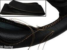 FITS (02-09) TOYOTA PRADO 3 J120 BLACK LEATHER STEERING WHEEL COVER BEIGE STITCH