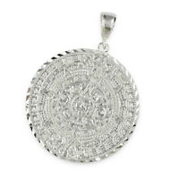 Mens Solid 925 Sterling Silver Mayan Aztec Calendar Round 43mm Pendant