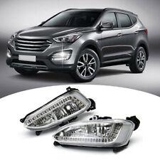 1 Pair LED DRL Fog Light Daytime Running Fit For Hyundai IX45 Santa Fe 2013-2015