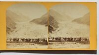 Chamonix Ghiacciaio Argentière Francia Stereo Vintage Albumina Ca 1870