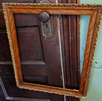 Antique Gilt Carved Wood Large Picture Frame VTG Oak Old 24x20, 19x16.5 opening
