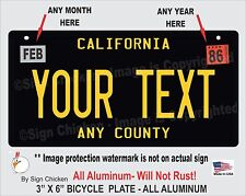 California Black YOUR TEXT Personalized Custom Aluminum License Plate BICYCLE