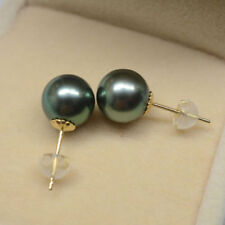 AAA+ 11-12MM round real NATURAL Tahitian Black PEARL stud EARRINGS 18K Gold