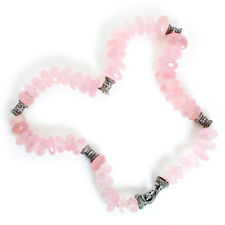 "Pink Quartz Choker Necklace with Diamonds 18K White Gold 17"""